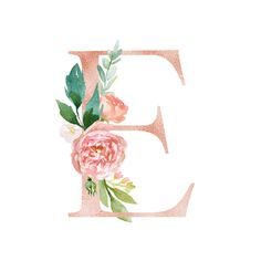 Floral Alphabet - blush / peach color letter E with flowers bouquet composition. Unique collection for wedding invites decoration and many other concept ideas. - Buy this stock illustration and explore similar illustrations at Adobe Stock Monogram Wallpaper, Letter E Iphone Wallpaper, Letter Wall Art, Flower Letters, Floral Prints, Art Prints, Peach Colors, Nursery Art, Illustration