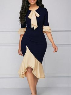 Vintage WomenS Wrap Dress Sheath Bodycon Slim Ruffled Dress Bow Tie Neck Midi Autumn Office Lady Plus Size Navy Dress Half Sleeve Dresses, Half Sleeves, Casual Dresses, Fashion Dresses, Maxi Dresses, Party Dresses, Casual Outfits, Fitted Dresses, Pencil Dresses