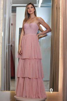 Vestido rosa para madrinha de casamento 2021: 110 vestidos longos