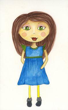 Watercolor girl #3 - Karen