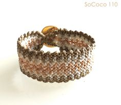 Gold and Nude woven handmade SoCoco Bracelet Macrame Bracelets, Druzy Ring, Nude, Unique, Rings, Gold, Handmade, Jewelry, Style