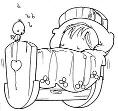 Embroidery Patterns Sleeping baby, precious moments, coloring pages Baby Coloring Pages, Coloring Pages For Kids, Coloring Sheets, Coloring Books, Free Coloring, Precious Moments Coloring Pages, Illustrations, Copics, Digital Stamps