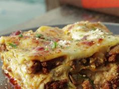 YUMMY White Lasagna with Spicy Turkey Sausage and 'Shrooms Recipe : Guy Fieri : Food Network - Top Recipes, Turkey Recipes, Pasta Recipes, Dinner Recipes, Cooking Recipes, Wing Recipes, Dinner Ideas, Pasta Meals, Tasty