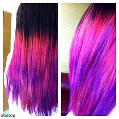 Brown, pink, red and purple Pink Ombre Hair, Brown Ombre Hair, Purple Ombre, Red Purple, Pink Black, 2015 Hairstyles, Pretty Hairstyles, Haircuts, Baliage Hair