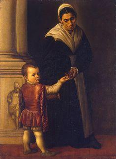 Portrait of a Boy with his Nurse  Moretto da Brescia (Alessandro Bonvicino)   #TuscanyAgriturismoGiratola