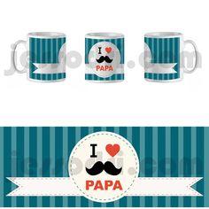 Taza mug dia día del padre i love papa corazón corazón bigote mustache 325ml
