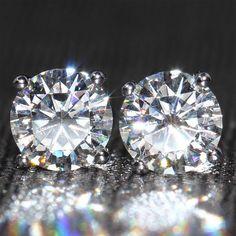 18K White Gold Screw Back 2 Carat F Color Moissanite Diamond Earrings For Women