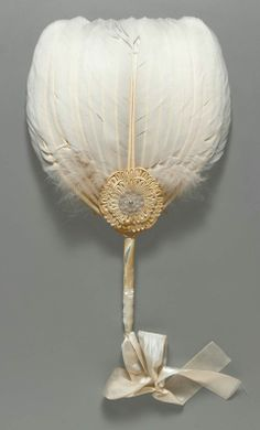 Mid-19th century, probably France, used in America Fan: feathers, mother-of-pearl, cotton plain weave, silk satin, bamboo, and metal.