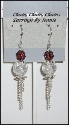 Crackle Bead & Red Rhinestone Earrings with by ChainChainChains