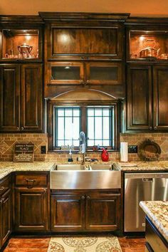 Rustic look with farm house stainless steel sink