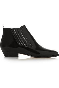 Glossed Black leather - Isabel Marant Presley glossed-leather ankle boots | NET-A-PORTER