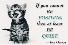 """""""If you cannot be POSITIVE, then at least BE QUIET."""" -- Joel Osteen"""