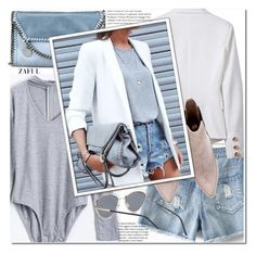 """Light gray bodysuit"" by duma-duma ❤ liked on Polyvore featuring STELLA McCARTNEY"