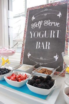 Fabulous Breakfast and Brunch Wedding Ideas for the Early Birds - wedding yogurt. - - Fabulous Breakfast and Brunch Wedding Ideas for the Early Birds - wedding yogurt dessert bar via Hostess with the Mostess. Baby Shower Brunch, Bridal Shower Brunch Menu, Bridal Shower Foods, Bridal Brunch Favors, Bridal Shower Appetizers, Unique Bridal Shower, Bridal Shower Party, Baby Showers, Yogurt Dessert