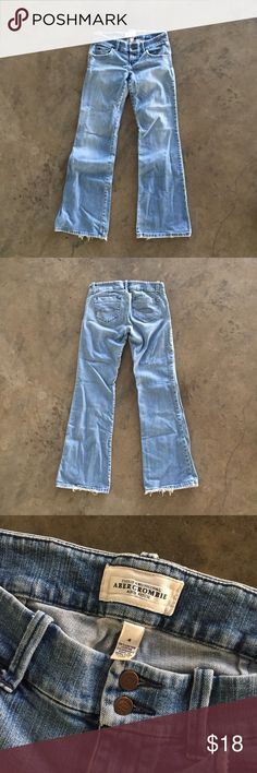 Abercrombie & Fitch Low Rise Wide Leg Jeans A&F low rise wide leg denim jeans. Distressed wash, fits like your favorite pair of jeans. Denim with a little stretch for the perfect fit. Abercrombie & Fitch Jeans Flare & Wide Leg