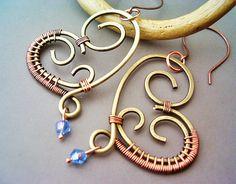Wire Wrapped Heart Brass Earrings with Azure by GearsFactory, €17.00