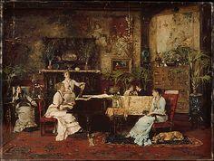 """""""The Music Room"""" Munkascy, 1878 (Hungarian)"""