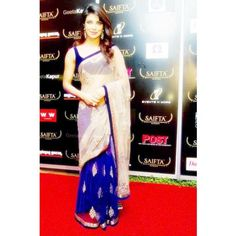 bollywood replica priynaka chopra royal blue cream net Saifta Award saree sari