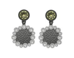 925 Sterling Silver Earrings Yellow 18k. Gold White CZ. From the Bubbles Collection Price : $543.71 #BohemmeJewelry