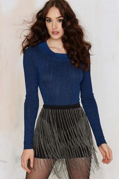 Nasty Gal Stripe 'Em Down Metallic Top - Blue | Shop Clothes at Nasty Gal!