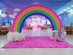 Unicorn Baby Shower Decorations, Rainbow Party Decorations, Birthday Balloon Decorations, Unicorn Themed Birthday Party, My Little Pony Birthday Party, Rainbow Birthday Party, Jasmin Party, Kids, Birthday Accessories