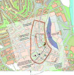 GGAT map of medieval Swansea overlaid onto modern Ordnance Survey mapping