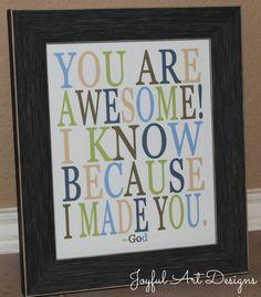You Are Awesome God Made You PRINTABLE.  Christian Wall Art. Little Boy Decor. Children/Teenage Room Decor. Birthday Gift. DIGITAL file. $8.00