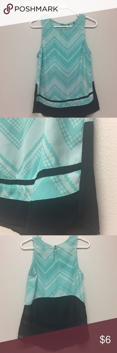 Teal and black chevron top Fun details on this loose top. Perfect for work.  Tag was cut out! not sure of brand or size. But fits like a small.  To make the most from shipping please bundle using the bundle button or tag me in the items you would like and I will create a custom listing. I am willing to negotiate on bundled items!  Tops Tank Tops