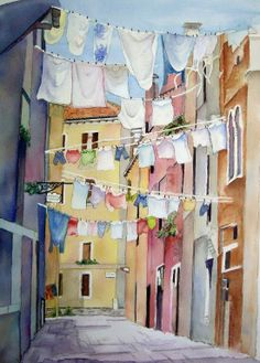 Wasstraatje -:) ~** Use a clothesline like this out a second story laundry room attached to a tall post