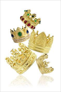 18K diamond and gemstone crown rings by Cynthia Bach,