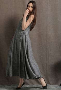 Gray Linen Maxi Dress  Summer Sleeveless Grey Marl Long