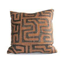 Appliqué Kuba Cloth Pillow - www.loadedtrunk.com