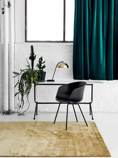 Green Velvet Office Curtains - Scandinavian Interiors