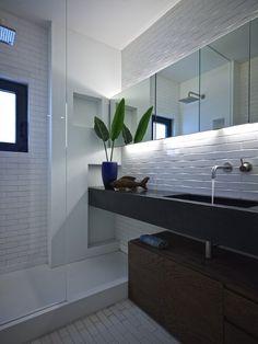 beautiful white subway tile bathroom