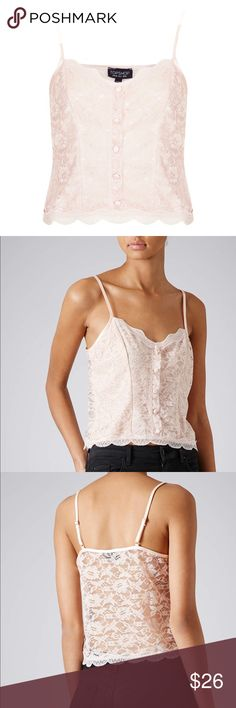 Topshop Pink Lace Cami Top A light pink cami top in lace with front accent buttons. Topshop Tops Camisoles
