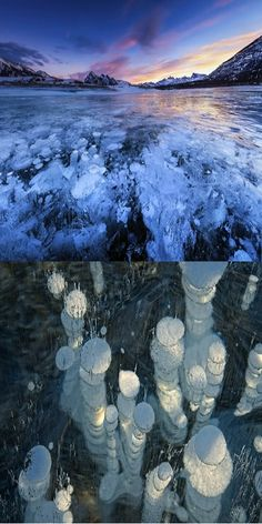 Frozen Air Bubbles In Abraham Lake , Canada (VIDEO) #Nature #Travel #Amazing