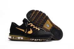 Fashion! Nike 2017 Air Max Men Running Black Gold