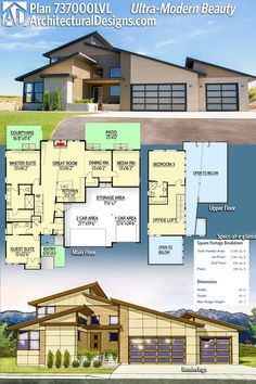 Architectural Designs Modern House Plan 737000LVL gives you 3 beds, 3 baths and over 2,500 square feet of heated living space. Ready when you are. Where do YOU want to build? #737000LVL #adhouseplans #architecturaldesigns #houseplan #architecture #newhome  #newconstruction #newhouse #homedesign #dreamhome #dreamhouse #homeplan  #architecture #architect #modernhouse #modernhome #modern