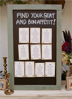 Wedding Seating Chart Ideas | Helen and Chris continued with their up-cycled theme by using a ...