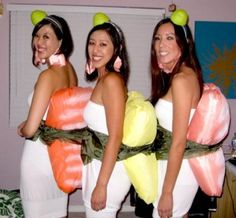 My halloween costume is going to look like the one on the far left! Sushi Costume