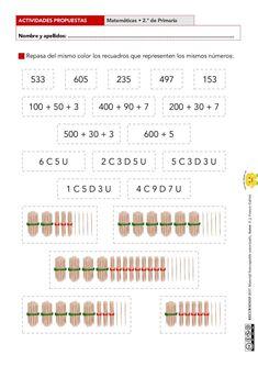 Actividades de numeración para 2.º de Primaria (dos niveles) Algebra, Teacher, Education, Words, Maths, 1, Fitness, Toddler Learning, Activities