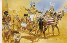 illustration of angus mcbride showing the egyptian pharaoh ramses II in his chariot Egyptian Pharaohs, Ancient Egyptian Art, Ancient History, Egyptian Weapons, Robert E Howard, Ancient Near East, Historical Art, Ancient Civilizations, Illustrator