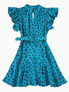 Ruffle Sleeve Skater Dress in Clover Print