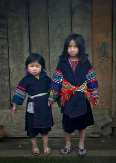 hmong kids with brand new clothes for new year, vietnam.