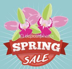 Spring Sale Design with Exotic Orchids for Offers Season, Vector Illustration Spring Sale, Red Ribbon, Orchids, Exotic, Stock Photos, Seasons, Illustration, Color, Design