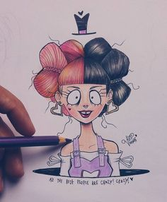 """Mélanie Martinez""""Mad Hatter"""" """"Ale the best people are crazy! Tim Burton Drawings Style, Tim Burton Art Style, Melanie Martinez Mad Hatter, Crybaby Melanie Martinez, Amazing Drawings, Cute Drawings, Mad Hatter Drawing, Desenhos Tim Burton, Melanie Martinez Drawings"""