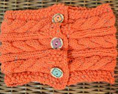 Tejer capucha cableados con tweed botones madera-naranja