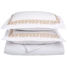 Drift into a peaceful slumber under these soft, embroidered duvet covers. This duvet set has the look and feel of the perfect gift while looking fantastic in almost every bedroom and guestroom.