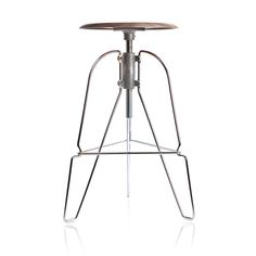 Covey Stool. Wireframe with a wooden seat that almost seems to levitate.