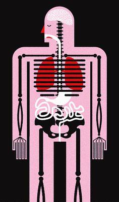 Stock Illustration : Biomedical illustration of human body, skeleton and internal organs